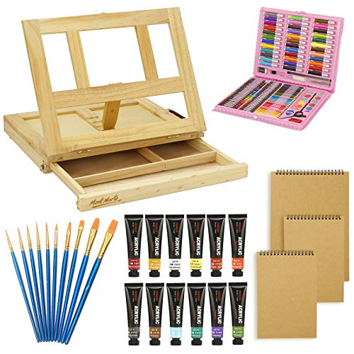 100 PiecePremium Mega Wood Box Art Painting amp Drawing Set That Contains All The Additional Supplies You Need to get Started and The Bonus Wooden Drawing Easel with Drawer