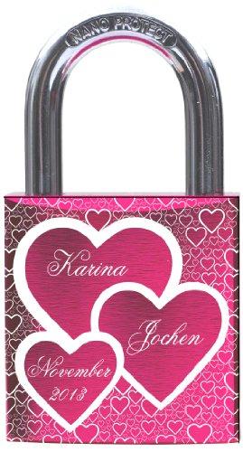 Gravurenalarm® Liebesschloss PINK mit individueller Gravur - 2 Schlüssel - inkl. Samtsäckchen