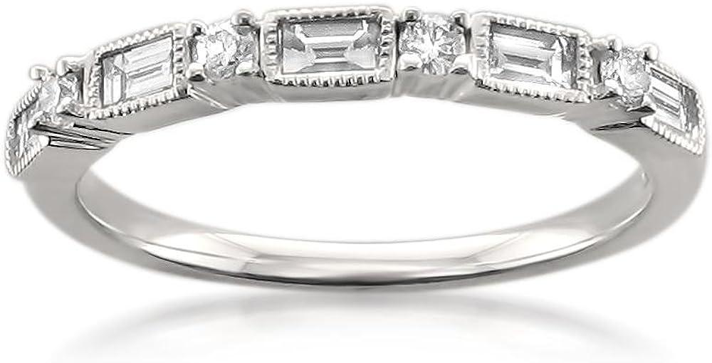14k White Gold Baguette & Round Diamond Milgrain Bridal Wedding Band Ring (1/2 cttw, I-J, I1-I2)