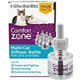 Comfort Zone Cat Calming Diffuser Refill for Multi-Cat Homes to Stop Cat Fighting and Reduce Problem Behavior, Vet Recommended, 6 Pack Refill (48ml) 180 Day Use