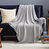 Bedsure Throw Blankets for Couch, Soft Knit Woven Blanket, 50x60 Inch - Lightweight Farmhouse Decorative Blanket with Tassels for Bed, Couch, Sofa - Suitable for Adults and Kids (Grey)