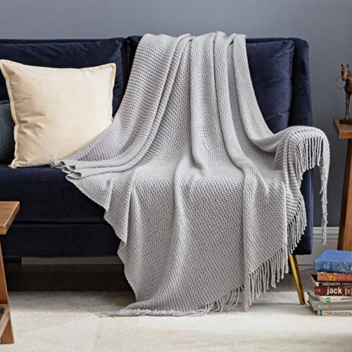 "Bedsure 50"" x 60"" Soft Knit Woven Throw Blanket  $11 at Amazon"