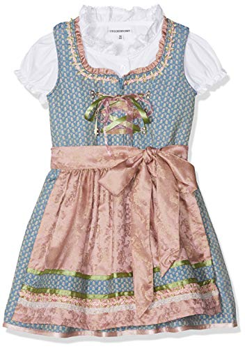 Stockerpoint Mädchen Kinderdirndl Lucy Dirndl, Mehrfarbig (Blau Blau), 122/128 (Herstellergröße: 122-128)