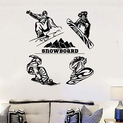 ShiyueNB snowboard muurstickers winter Extreme Sports muurtattoos vinyl snowboard muur poster wooncultuur snowboard speler muurschildering 57x64cm BB