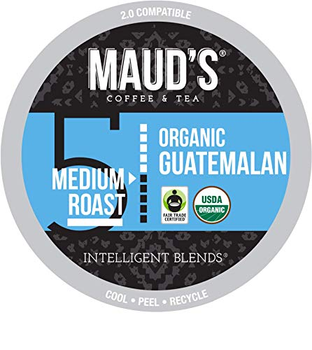 Maud's Organic Guatemalan Coffee (Medium Dark Roast Coffee), 24ct. Recyclable Single Serve Fair Trade Single Origin Organic Guatemalan Coffee Pods - 100% Arabica Coffee, Organic K Cups Compatible