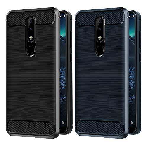 VGUARD [2 Pack] Cover per Nokia 5.1 Plus, [Fibra di Carbonio] Protezione Posteriore Soft TPU Custodia Case per Nokia 5.1 Plus (Nero+Blu)