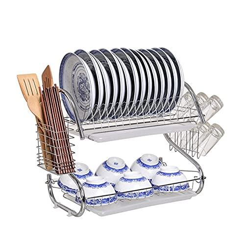 HFTD Rejilla para Platos Dos Niveles Rejilla para secar Platos de Cocina Vajilla de Acero Inoxidable Rejilla para escurridores de Cubiertos Bandeja de desagüe de Secado Barra de Cocina Rejillas d