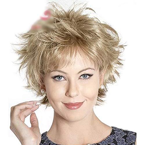 DOUWAN Blonde Mischfarbe Frauen schließen Bob-Perücke Hitze wider Cospaly Partei-Haar-Perücke for Frauen (Farbe : Blonde)