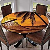 """Elastic Edged Polyester Fitted Table Cover,Silhouette of Hammock by the Ocean on Tropical Beach at Romantic Sunset Seaside Artsy,Fits up 40""""-44"""" Diameter Tables,The Ultimate Protection for Your Table,"""