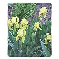 マウスパッド おしゃれ アイリスの花黄緑花壇地球 マウスの精密度を上がる