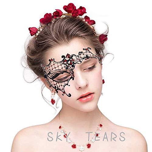 sky tears Mascara Sexy Mujer Máscara Metal Laser-Corte de Diamantes de Imitación Noche Baile Veneciano Carnaval Fiesta