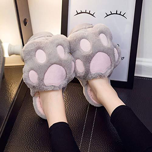 AYDQC Zapatillas para Mujer Zapatos de Invierno Inicio Cálido Peluche Interior No resbalón Antideslizante Dibujos Animados Oso Paw Mujeres Diapositivas Animales encantadores