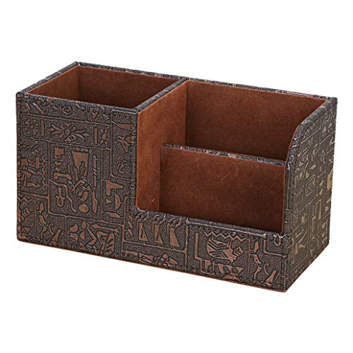 KINGFOM Leatherette Desk Organizer Pen/Pencil/Remote Control/Cell Phones/Brushes Holder Office Container Storage Box (S-Vintage Egyptian Pattern)