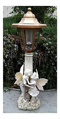 2 Outdoor Garden Decor Solar Fairy Angel/Cherub Statue Sculpture LED Lights ((2) Girl & Boy Fairy)
