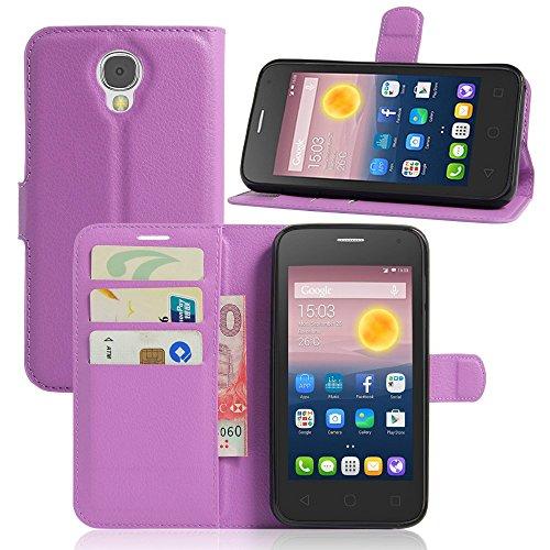Tasche für Alcatel Pixi 4 (5.0 zoll) 5010D 3G Version Hülle, Ycloud PU Ledertasche Flip Cover Wallet Case Handyhülle mit Stand Function Credit Card Slots Bookstyle Purse Design lila