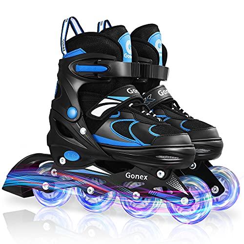 Gonex Inliner für Kinder mit Einstellbarer Größe, 4 Größenverstellbare Inliner Skates für Mädchen Jungen, Inliner Kinder PU, Inline Skates mit leuchtenden Rädern