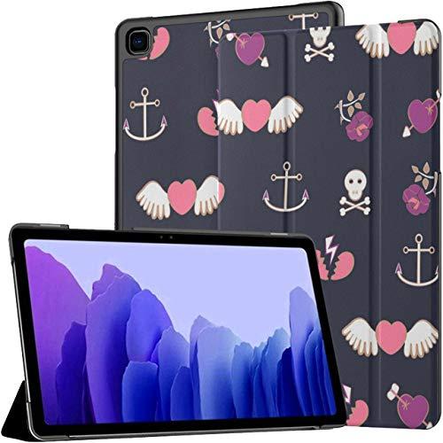 Funda para Samsung Galaxy Tab A7 Tableta de 10,4 Pulgadas 2020 (sm-t500 / t505 / t507), Patrón con Corazones Rosas AMD Anchors Vector Cubierta de Soporte de múltiples ángulos con Auto Wake/Sleep
