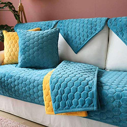 YUTJK Anti-slip Quilted Sofa Covers, Deluxe Dog Sofa slipcover, Four Seasons Universal Sofa Furniture Protector Soft, Pure Color Plush Sofa Covers, For 3 Seater Sofa, Blue