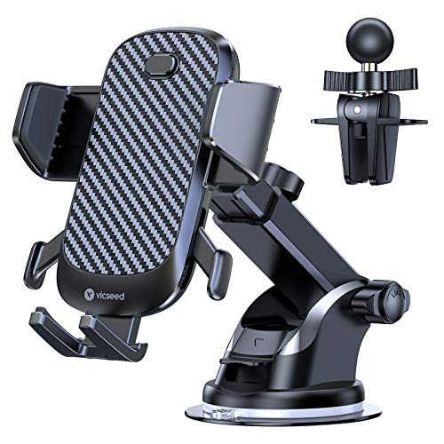 VICSEED Handyhalterung Auto, [Hält Bombenfest] 3 in 1 Handy Autohalterung mit Saugnapf & Lüftungclips KFZ Handy Halterung Automatische Klemmung 360° Universale Handyhalter für Alle Smartphones