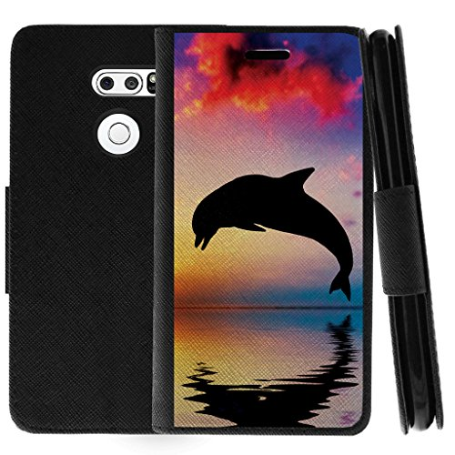 TurtleArmor   Compatible with LG V30 Case   LG V30+ Case   LG V30 Plus Case   Flip Kickstand Leather Wallet Case Cover with Card Slots Sea Ocean - Dolphin Jump