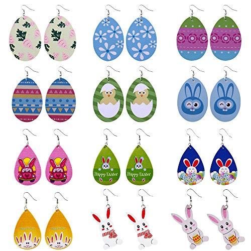 12 Pairs Easter Faux Leather Earrings Easter Bunny Easter Eggs Teardrop Dangle Earrings for Women Girls Gift