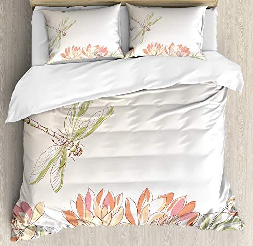 Juego de Funda nórdica libélula, Estampado de Flores de Loto con alas de Insectos voladores, Flores Decorativas de 3 Piezas con 2 Fundas de Almohada, Crema de durazno