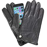 Isotoner Men's Smartouch Touchscree Snap Leather Gloves Black Large