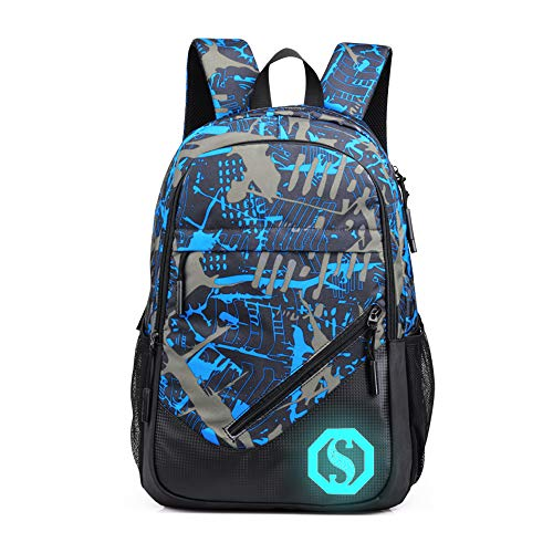 GuBan 18-inch large backpack with usb charging function(USB,Blue grey graffiti)