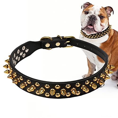 LUTER Collar de Perro Negros con Remaches Collar de Perro con Pinchos Dorados de Cuero Collar de Perro Ajustable para Perros Medianos Grandes Pugs Bulldogs Husky