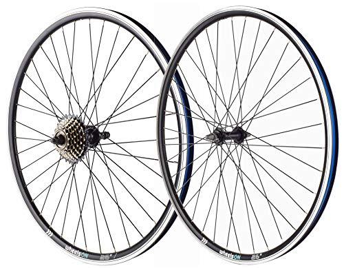 wheelsON 26 inch Front Rear Wheel Set + 7 Speed Freewheel Rim Brakes Black 36H