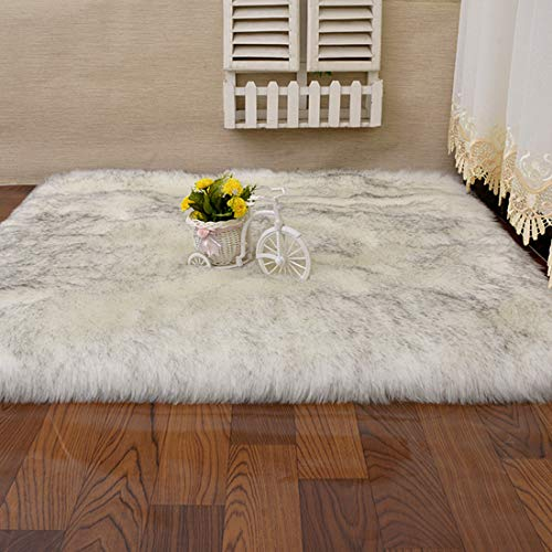 Fashion Suit Rectangle Faux Fur Sheepskin Area Rug Baby Bedroom Fluff Floor Sofa Rugs Home Decorative Shaggy Carpet(White&Black,8x10 Feet)
