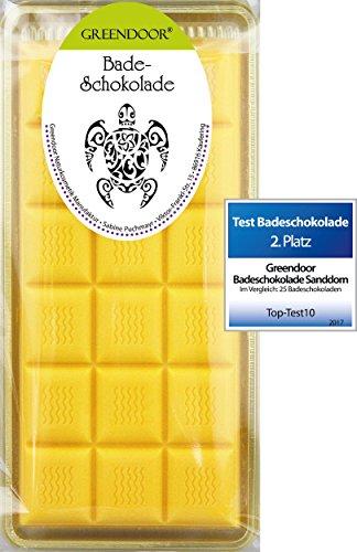 Echte 4,5 Sterne Greendoor Badeschokolade Sanddorn Orange 100g Cremebad mit BIO Kakaobutter, Badezusatz Naturkosmetik, natürliches Wellness Ölbad, rückfettende Natur Haut-Pflege, Geschenke