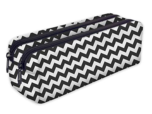 Pencil case met 2 vakken Toiletry-Bag Vanity Case make-up portemonnee telefoon handtas potlood-Bag houder [107] Zig Zag