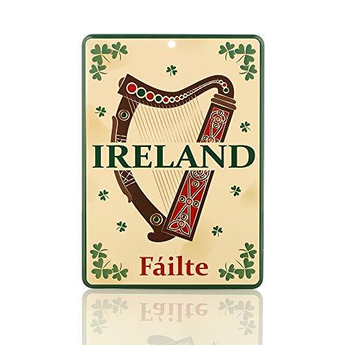 Eburya Fáilte Ireland Irland Blechschild - irische Harfe & Kleeblätter