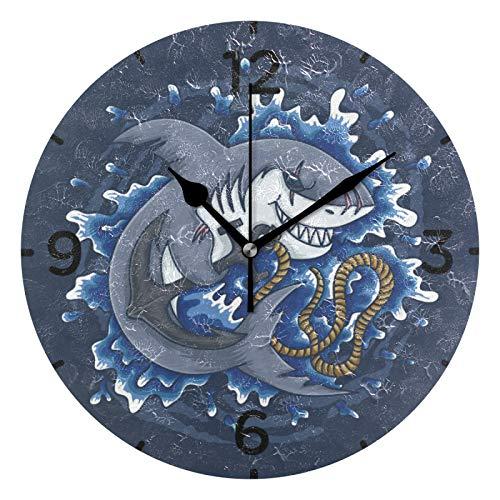 Cool Shark Holding Anchor Orologio da Parete Quarzo Orologi da Appendere Rotondo Silenzioso Decorazione del Soggiorno