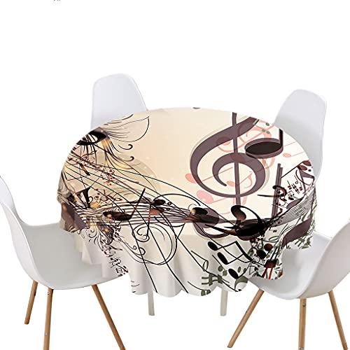 Highdi Impermeable Mantel de Redondo, Antimanchas Lavable Manteles Moderno Decoración para Salón, Cocina, Comedor, Mesa, Interior y Exterior (Nota Musical,Diámetro 200cm)