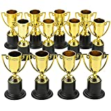 Kicko Plastic Golden Cup Trophy - 12 Pieces 4 Inch Achievement Prize Award - Perfect Special Recognition Award in School, Sports and Office, Carnival Victors, Party Favors and Accessories, Decor