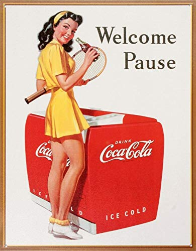 HHUT - Targa in metallo con scritta 'Coca Cola Coke Welcome Pause Tennis', stile retrò, 20 x 30 cm