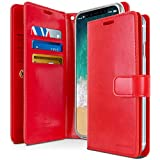 GOOSPERY Mansoor Wallet for Apple iPhone Xs Case (2018) iPhone X Case (2017) Double Sided Card Holder Flip Cover (Red) IPX-Man-RED