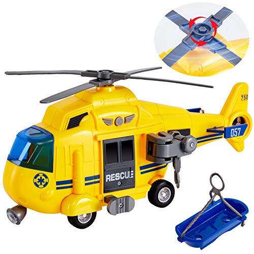 HERSITY Hubschrauber Kinder mit Drehpropeller, Flugzeug Spielzeug Groß Licht und Sound Helikopter Kinderspielzeug mit Bewegliche Seilwinde, Trage, 28cm, Geschenk für Junge 3 4 5 Jahre