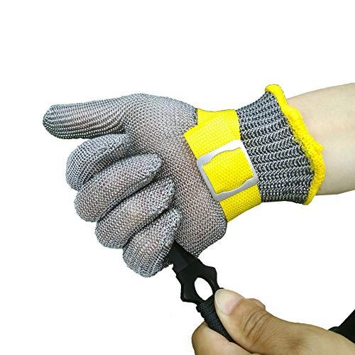 Schnittfeste Handschuhe 316L Anti-Schneidhandschuhe, Küchenfleisch Schneiden Sicherheitsarbeiten Handschuhe Mit Einstellbarem Armband, 4 Größen (Size : Medium)