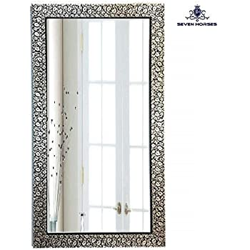 Seven Horses B&W Floral Design Wall Mirror (14.5X26.5 Inch)