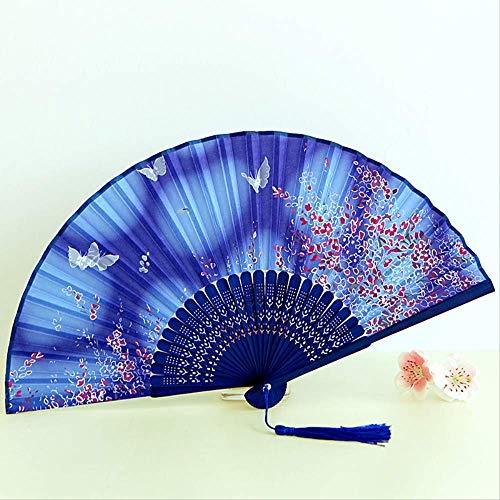 shengyao - Ventilador japonés Plegable de Viento Chino para Mujer, Butterfly Fly - Blue A-Long 21cm, Butterfly Fly - Blue A-Long 21CM