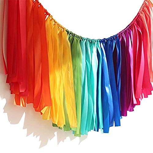 PANTIPINKY Handmade Party Garland Hanging Decorations Preassembled Colorful Ribbon Tassel Garland Fabric Shabby Chic Banner for Wedding Bachelorette Baby Shower Birthday 40 Inches(L) X 14 Inches(H)