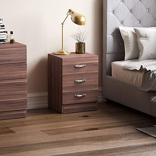Vida Designs Walnut Chest of Drawers, 3 Drawer With Metal Handles and Runners, Unique Anti-Bowing Drawer Support, Riano Bedroom Storage Furniture