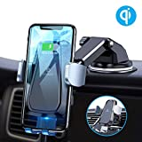 Andobil Qi Wireless Car Charger Mount, One Touch Auto Sensor Clamping Air Vent, Dash, Windshield Car Phone Holder for iPhone 11/11 Pro Max /Xs Max/Xs/XR/X/8, Samsung Galaxy S20/S10/S9/S8 Note 10/9