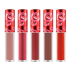 Lime Crime Velvetines Jolly Holiday Lip Set; 5-piece set of long-lasting, mini liquid matte lipsticks; Set includes Saffron (metallic coral red), Cindy (brown), New Americana (flame red), Rustic (earthy red) and Lulu (peach beige) Petal Soft Pout; Ri...