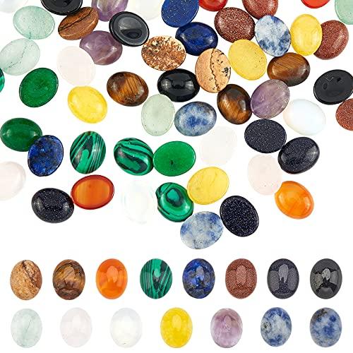 PandaHall 60 cabujones ovalados de piedras preciosas de 15 colores, cuentas de piedra de ágata amatista, cuarzo rosa, cabujones, cúpula de piedra plana para pendientes, collares, pulseras y joyas