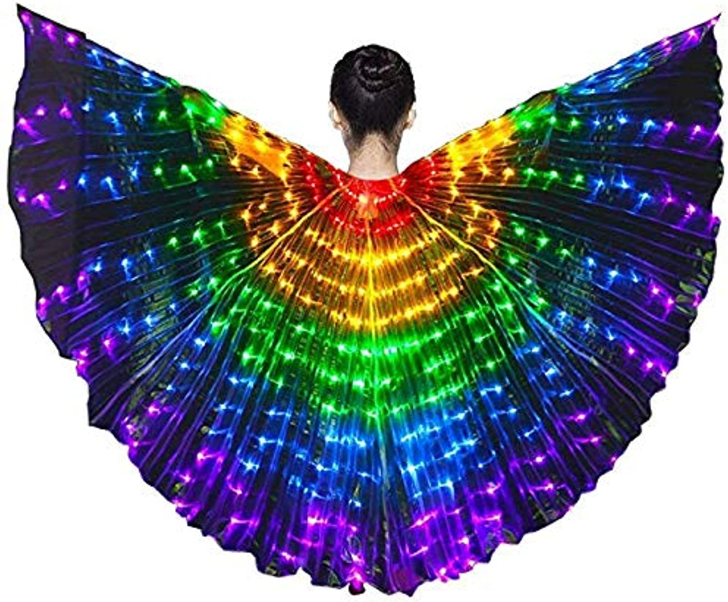 Kingszh Belly Dance 360 Degrees LED Light Wings Glowing Performance Clothing with Flexible Telescopic Sticks