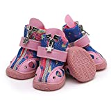 IUOU Remache Transpirable Zapatos para Mascotas Pequeños Zapatos de Perro Antideslizante Puppy Dog Sports Boots for Teddy Chihuahua